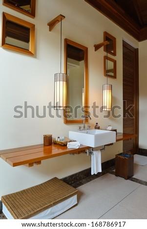 Luxury modern beautoful bathroom suite indoor - stock photo