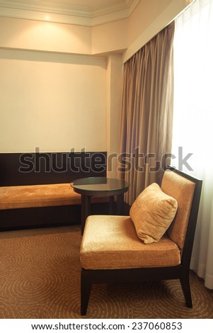 luxury modern bedroom. Modern style in the hotel. Relax room of the people when leave in the hotel - stock photo