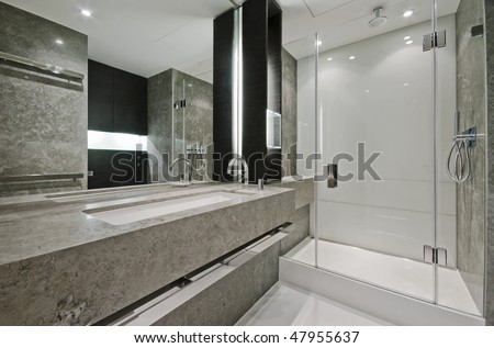 Luxury modern en suite bathroom with marble finish stock photo - Yampi S Portfolio On Shutterstock