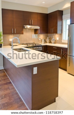 Luxury modern kitchen - stock photo