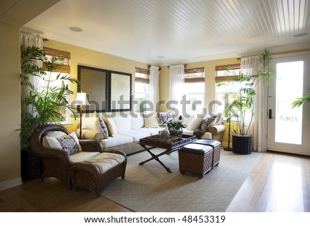 Luxury modern living room interior - stock photo
