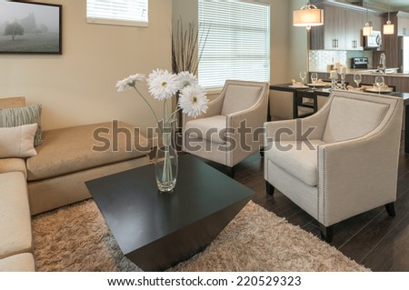 Luxury modern living suite : family room  with two chairs and some flowers in the vase on the coffee table  and the kitchen at the back. Interior design of a brand new house. - stock photo