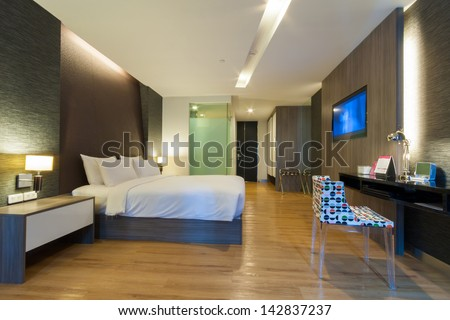 luxury modern room in hotel with facilities. - stock photo
