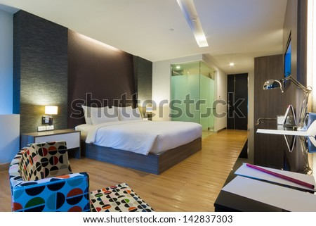 luxury modern room in hotel with facilities, Bangkok, Thailand. - stock photo