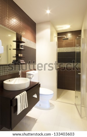 luxury modern style interior bathroom. - stock photo