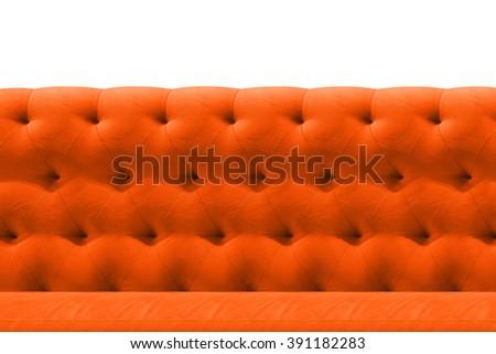 Luxury Orange sofa velvet cushion close-up pattern background on white - stock photo