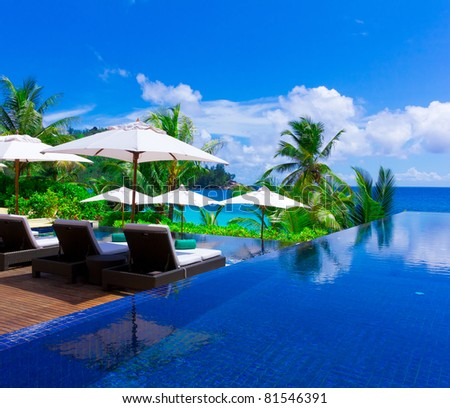 Luxury Palms Pool - stock photo