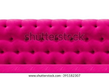 Luxury Pink sofa velvet cushion close-up pattern background on white - stock photo