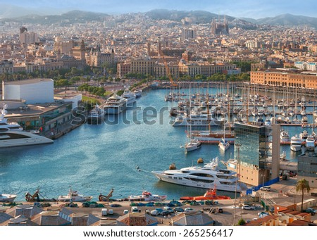 luxury port and quay, Barcelona, Spain - stock photo