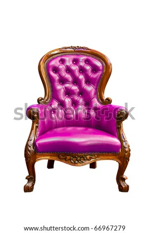 luxury purple armchair isolated on white background - stock photo