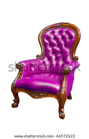 luxury purple armchair isolated on white background - stock photo