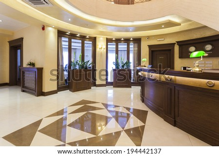 Luxury reception area with marble floor - stock photo