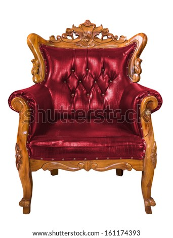 Luxury red leather armchair over the white background - stock photo
