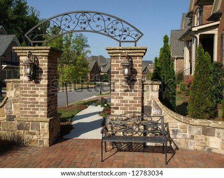 Luxury residential Subdivision Arch Gateway - stock photo