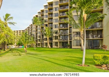 luxury resort with green - stock photo