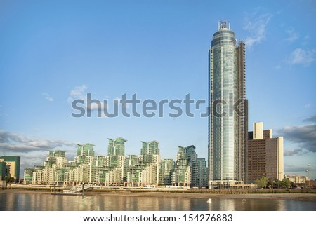 luxury riverside apartments in Vauxhall - stock photo