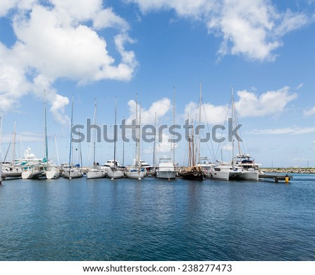 Luxury sailboats in a marina in the Caribbean - stock photo