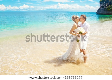 luxury sea-view wedding - stock photo