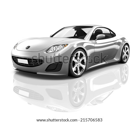 Luxury Silver 3D Sports Car - stock photo