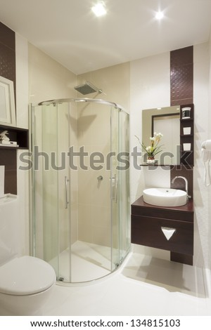 luxury small bathroom in hotel. - stock photo