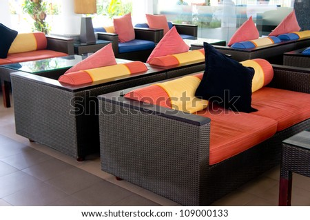 Luxury sofa at the living room - stock photo