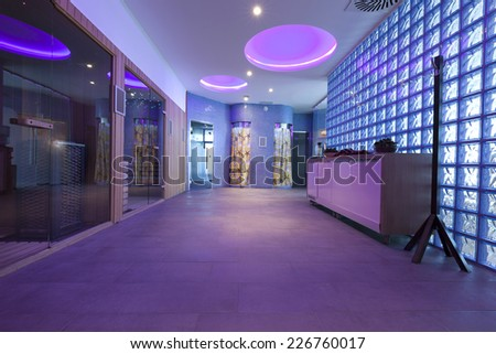 Luxury spa center interior with relaxing ceiling lights - stock photo
