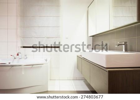 Luxury stylish bathroom with twin washbasin - stock photo