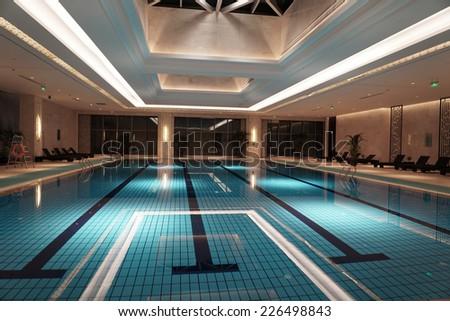 Luxury swimming pool - stock photo