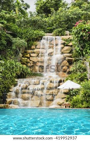 Beautiful pool swimming waterfall stock photos images - Blackberry farm cupertino swimming pool ...