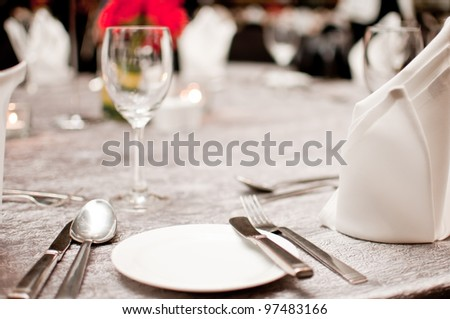 Luxury table setting for dining - stock photo