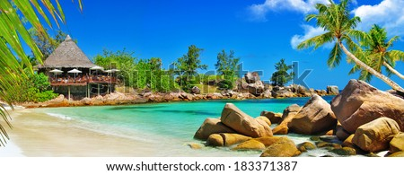 luxury tropical holidays - Seychelles islands - stock photo