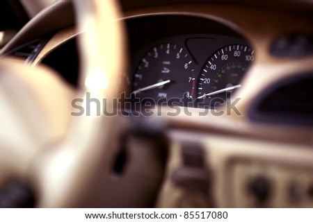 Luxury Vehicle Cockpit. Car Interior. Transportation Photo Collection - stock photo