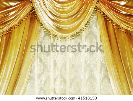 Luxury velvet Curtain - stock photo