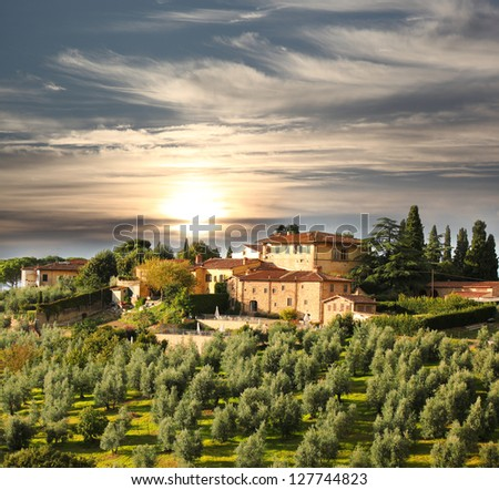 Luxury villa in Tuscany, famous vineyard in Italy - stock photo
