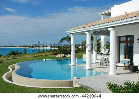 Luxury Villa Pool Saint Martin - stock photo