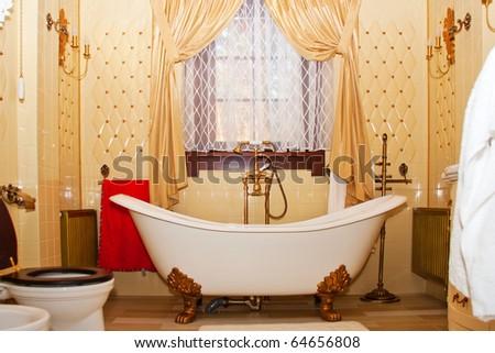 Luxury vintage bathroom interior of luxury hotel room - stock photo