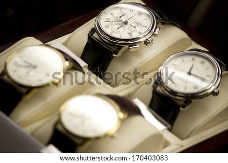 Luxury watches with a leather strap  - stock photo