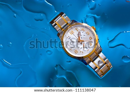 Luxury water resistant swiss made watch with chronograph - stock photo