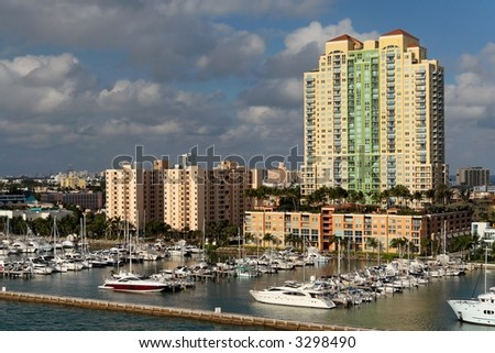 Luxury waterfront homes and dock - stock photo