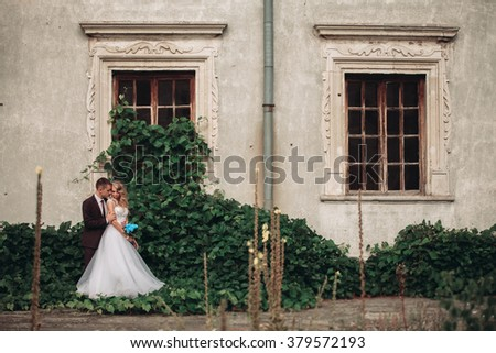Luxury wedding couple hugging and smiling each other on the background gorgeous plants in castle - stock photo