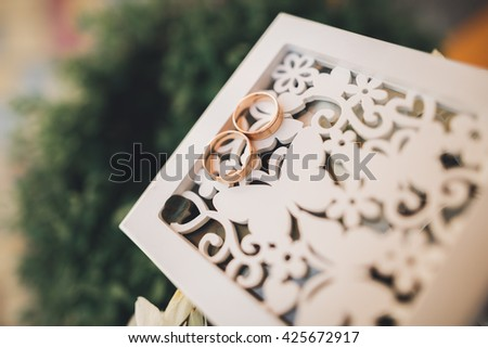 luxury wedding rings lying on the leaves and grass - stock photo