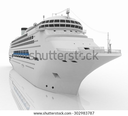 Luxury white cruise ship. 3d render illustration - stock photo