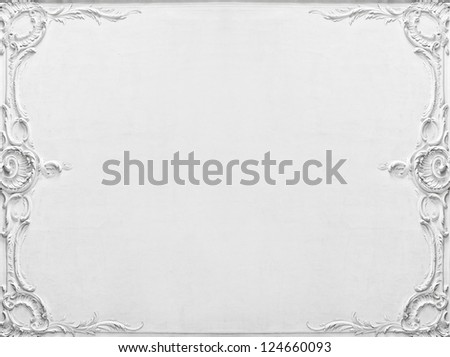 Luxury white wall design with mouldings - stock photo