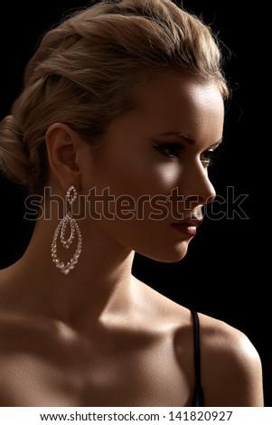 Luxury woman model, fashion chic jewelry, neckline - stock photo
