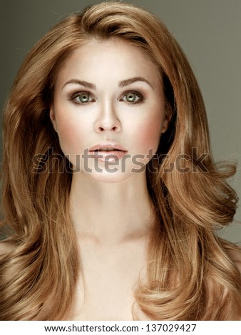 Luxury woman with perfect hair styling - stock photo