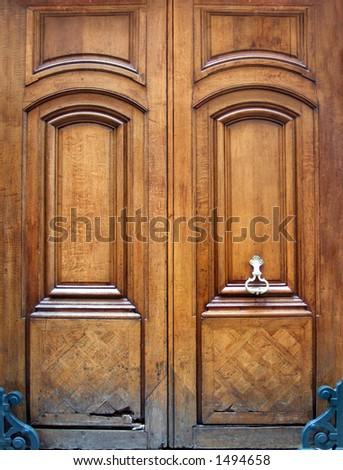 luxury wooden door - stock photo