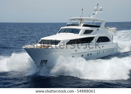 Luxury yacht at sea - stock photo