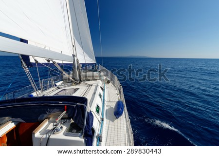 Luxury yacht at sea race. Sailing regatta. Cruise yachting - stock photo