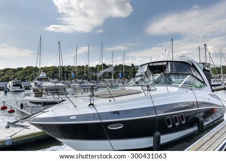 Luxury yacht in marina of Gdynia, Poland - stock photo