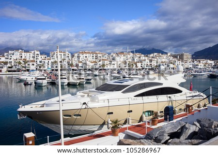 Luxury yachts at Puerto Banus marina on Costa del Sol, southern Andalucia, Spain. - stock photo